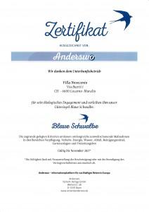 Zertifikat Blaue Schwalbe
